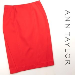 NWT Ann Taylor Orange Pencil Skirt 2 Rayon Spandex